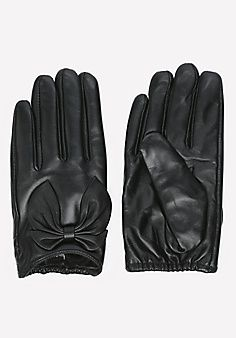 Short Leather Bow Gloves
