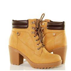 Botki - Proste Klasyczne Timberki Na Słupku Camel - www.BUU.pl #botki #timberki #shoes