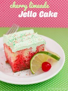 This Jello Cake is super easy to make and just right for birthdays, potlucks, or BBQs! The post Cherry Limeade Jello Cake appeared first on The Weary Chef. Jello Cake Recipes, Cupcake Recipes, Cupcake Cakes, Dessert Recipes, Cupcakes, Tart Recipes, Fun Desserts, Delicious Desserts, Yummy Food