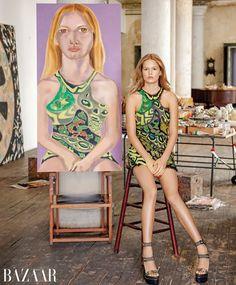 Anna Ewers - Harper's Bazaar US April 2016. Photo:Jason Schmidt. Artist: Francesco Clemente. Anna Ewers, Christy Turlington, Top Model Poses, Trendy Fashion, Fashion Models, Muse, Versace, Artists And Models, Linda Evangelista