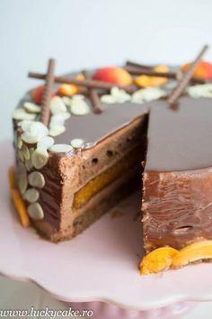 Tort Sacher reinterpretat , delicos ! Mousse fin de ciocolata, blat de ciocolata acompaniat de un gem parfumat de caise si jeleu de caise