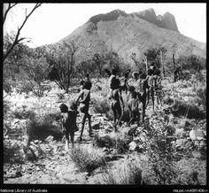 Australian Aboriginal women and children belonging to the Arunta tribe, Central Australia, 1934