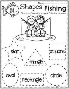 Shapes Worksheets for Preschool - Tracing Shapes Camping Theme Shape Worksheets For Preschool, Summer Worksheets, Shapes Worksheets, Preschool Learning Activities, Preschool Curriculum, Preschool Printables, Preschool Classroom, Homeschooling, Kindergarten Lessons