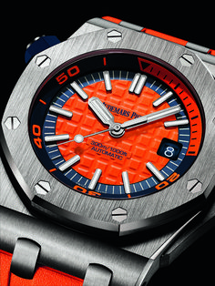 "After launching the Royal Oak Offshore Diver Chronograph in 2016, Audemars Piguet follows it up at SIHH 2017 with new ""funky color"" versions of its luxury dive watch, the non-chronograph Audemars Piguet Royal Oak Offshore Diver."