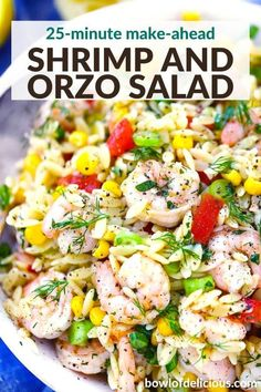 This easy shrimp orzo salad is served cold with a lemon garlic herb vinaigrette! It's an easy make ahead recipe for a side or meal for a potluck, summer BBQ, or for meal prep lunchs. Orzo Salad Recipes, Cold Shrimp Salad Recipes, Shrimp Salads, Shrimp Meals, Shrimp Dishes, Pasta Dishes, Seafood Recipes, Summer Salads, Summer Bbq
