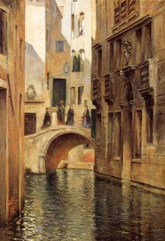 "a slightly less sinister picture than the black-and-white  Julius LeBlanc Stewart - ""Venetian Canal"""