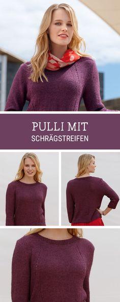 Schlichten Pullover mit Schrägstreifen stricken / diy inspiration: knitted pullover with striped pattern via DaWanda.com