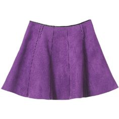 Blackfive Leather Trimmed Mid Rise Pleated Suede Skirt ($27) ❤ liked on Polyvore featuring skirts, bottoms, purple, suede a line skirt, purple skirt, suede skirt, knee length pleated skirt and a line skirt