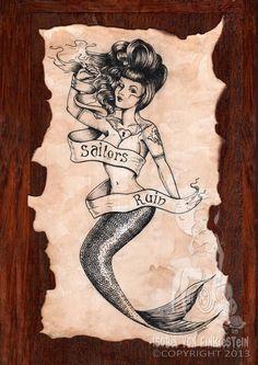 Original art - Sailors ruin vintage style mermaid tattoo by Isobelvonfinklestein, $150.00