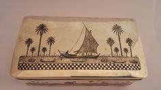 OLD IRAQI SILVER AND NIELLO BOX الفضة العراقية المطعمة بالمينا السوداء شغل اهل الصبة