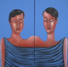 "VWL/ASIA/008 (A,C)  (Paris 2013 ""Womtych"")-Acrylic on canvas/Acrylique sur toile/Acrylico sobre tela (2X30X60cm)"
