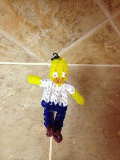 Rainbow Loom HOMER SIMPSON. Designed and loomed by Cheryl Spinelli. See Tutorials Board for Homer and Belly Extension pictorials.
