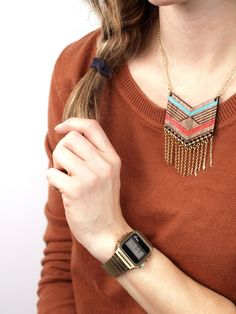 MEXI  Laser cut walnut fringe necklace color 12 by MijuAndYou, $42.00