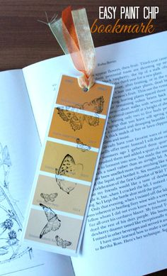 I love paint chip crafts. This easy DIY craft is a fun way to use up some paint chips and have fun with your rubber stamps. Make your own stamped bookmark craft today.