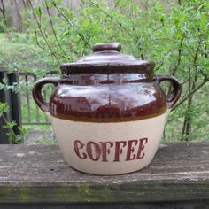 Vintage Coffee Crock/ Canister  Monmouth Pottery  by SimplySuzula