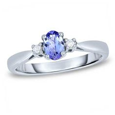 Oval Tanzanite and Diamond Accent Ring in Sterling Silver - Size 7
