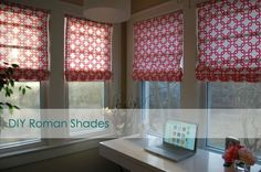 probably easiest tutorial yet on how to make your own Roman Shades!!! fabric, glue, old blinds- that's about it!