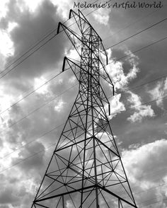 Tall Electrical Tower in the Clouds Sun black and white photo. www.etsy.com/shop/ MelaniesArtfulWorld