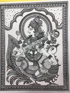 Hindu Goddess Saraswathi Art Print Home Decor image 5 Mandala Art Lesson, Mandala Drawing, Zentangle Drawings, Zentangles, Madhubani Art, Madhubani Painting, Durga Painting, Line Design, Design Art