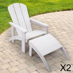 2 x Adirondack Garden Lounger | Polyteak White armchair & footrest | £287.99