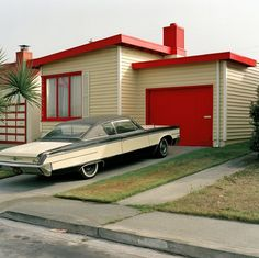 Available for sale from Robert Klein Gallery, Jeff Brouws, Carmen Red, Daly City, California (Freshly Painted Houses) Archival digital pigment pri… Mid Century Decor, Mid Century House, Mid Century Style, Mid Century Design, Daly City, Googie, Retro Home, Architecture, House Painting