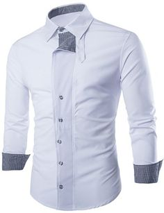 Fashion Shirt Collar Color Block Tiny Checked Splicing Slimming Long Sleeve  Cotton Blend Shirt For Men