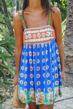 Boho style printed summer dress