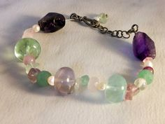 Sterling Natural Gemstone Bracelet    8- 9 inch open length  Amethyst, Jade ,  Quartz, Pearl by GemstoneCowboy on Etsy