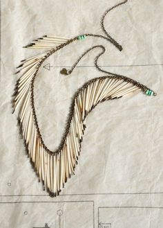 Necklace with Porcupine Quills fringe