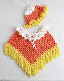 Candy Corn Poncho and Hat Set Crochet Pattern