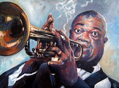 By Emilie Lacroix (Louis Armstrong) Louis Armstrong, Jazz, Painting, Fictional Characters, Sketch, Paint, Jazz Music, Painting Art, Paintings