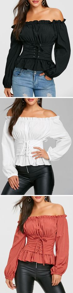 You will be fall in love this cool blouse. It features a trendy off the shoulder shape.Lace up detail in the front create a charming look! Throw this comfortable blouse on over jeans or pants for a relaxed and chic look. Korean Blouse, Steampunk Hairstyles, Casual Outfits, Cute Outfits, Fall Outfits, Tee T Shirt, Couture Fashion, Fashion Dresses, Lace Up