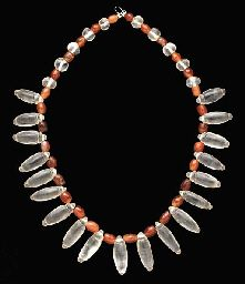 (Roman) A Roman rock crystal & carnelian bead necklace. ca century CE. Roman Jewelry, Old Jewelry, Ethnic Jewelry, Jewelry Art, Antique Jewelry, Jewelry Gifts, Beaded Jewelry, Jewelry Design, Jewelry Making