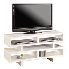 This simple and contemporary TV console will fit nicely with most home decor. Featuring plenty of open storage space with separated compartments for convenie...