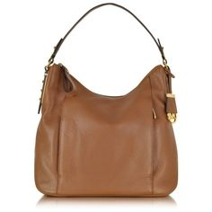 Michael Kors Bowery Large Leather Shoulder Bag ($298) ❤ liked on Polyvore featuring bags, handbags, shoulder bags, brown, hobo handbags, leather purse, leather shoulder handbags, leather hobo purse and brown leather purse