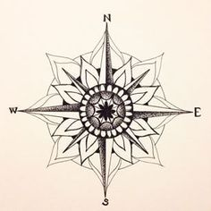 41 Ideas tattoo compass mandala how to draw Mandala Compass Tattoo, Compass Tattoo Design, Compass Art, Feminine Compass Tattoo, Compass Drawing, Nautical Compass Tattoo, Neue Tattoos, Bild Tattoos, Tattoo Rose Des Vents