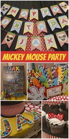 A Mickey Mouse Clubhouse boy birthday party with colorful cake pops, banner and candy! See more party planning ideas at CatchMyParty.com!
