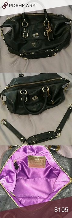 Coach Madison Black Leather This Coach Madison Sabrina handbag is black leather with gold detailing. Wear it 2 ways! No rips, tears or stains. Coach Bags Shoulder Bags