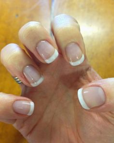 CND Shellac French Manicure - base colour is Negligee, white tip is Studio White.