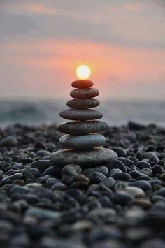 - stones and sunset.