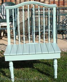 crib repurposed into a bench