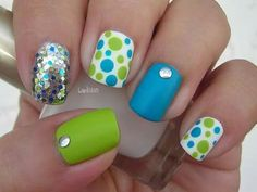 Blue and green poke dots