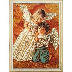 Трогательная картина в янтаре Ангелочки ручной работы выполнена в технике янтарной росписи и предназначена для изысканного подарка взрослым и детям к Новогодним праздникам, дню рождения, крестинам и пр. Два нежных ангела с белыми крыльями будут хранить владельца такой картины от неприятностей и невз
