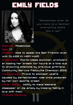 What would happen if the Glee girls and Pretty Little Liars went in the Hunger Games? Emily Fields score card.