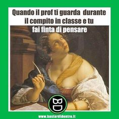 When the teacher look at you and you're pretending to think! Funny Images, Funny Photos, Italian Memes, Funny Test, Serious Quotes, Michaela, Clean Memes, Verona, Funny Video Memes