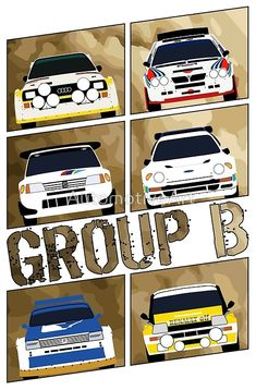 'Group B' Art Print by AutomotiveArt Sport Cars, Race Cars, 205 Turbo 16, Most Popular Cars, Martini Racing, Car Illustration, Car Posters, Car Drawings, Rally Car