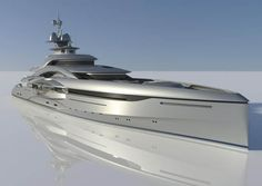 Single photo realistic rendered image showing its reflection. The reflection gives the yacht/image depth ...