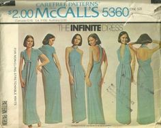 Infinite Dress Pattern Vintage 70s McCalls 5360 for Knits Fits Hips 32 - 38