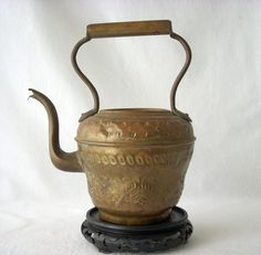 19th Century Copper Brass French Repousse Teapot  by GSaleHunter, $39.00