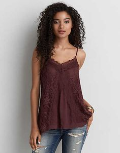 AEO Lace Panel Cami , Orchid Bouquet | American Eagle Outfitters